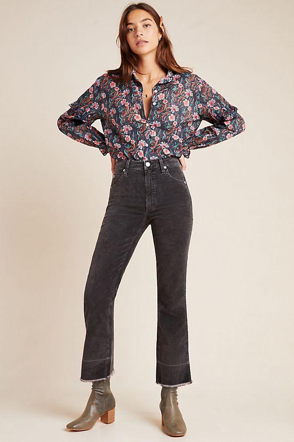 Slide View: 1: AMO Bella High-Rise Cropped Velvet Flare Jeans