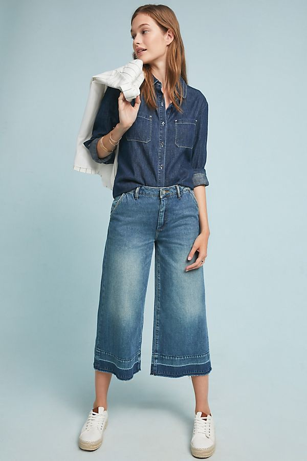 Slide View: 1: Reiko Nathan Mid-Rise Wide-Leg Jeans