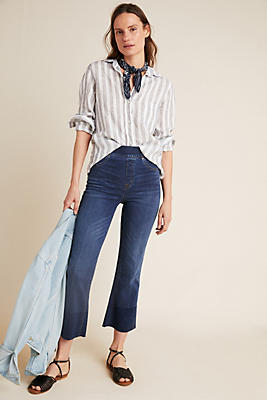 Slide View: 1: Spanx Mid-Rise Crop Flare Jeans