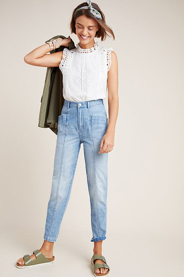 Slide View: 1: Front Seam Ultra High-Rise Straight Jeans