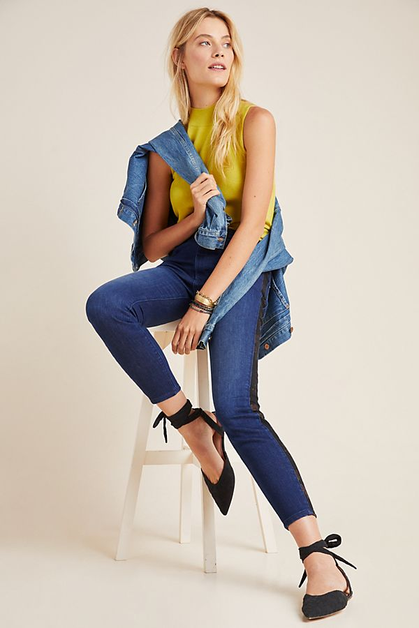 Slide View: 1: Pilcro Ultra High-Rise Floral Contrast Skinny Jeans