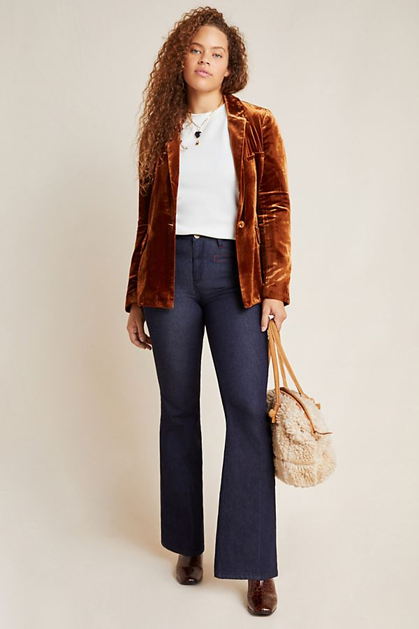 Slide View: 1: Pilcro Stitched High-Rise Flare Jeans