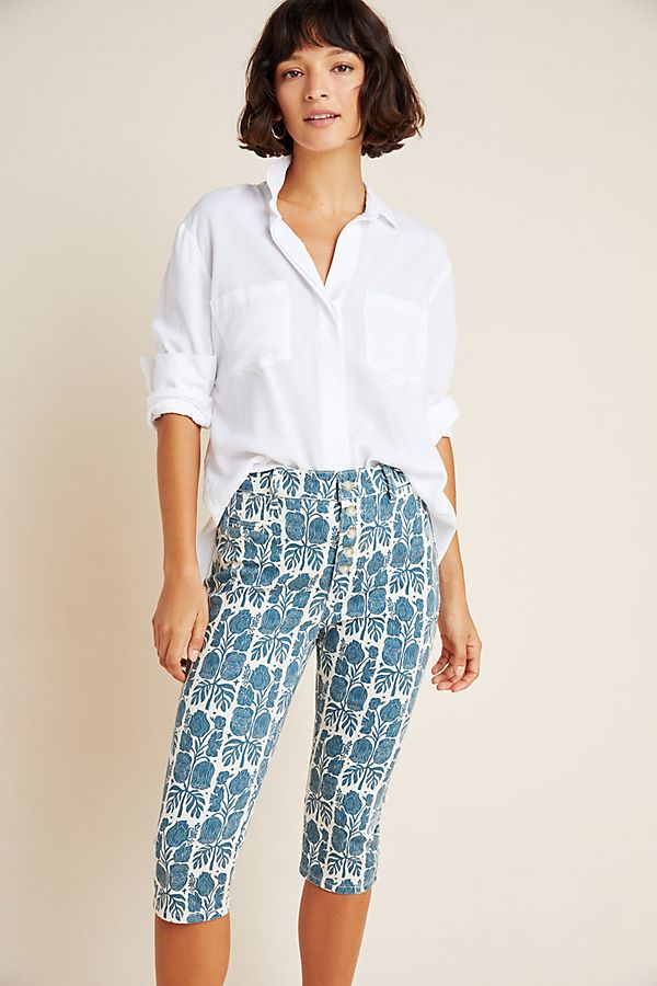 Slide View: 1: Blooming Print Button-Fly High-Rise Denim Capris