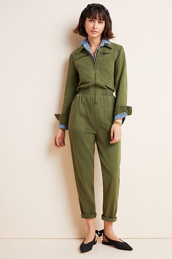 Slide View: 1: Victor Twill Utility Jumpsuit