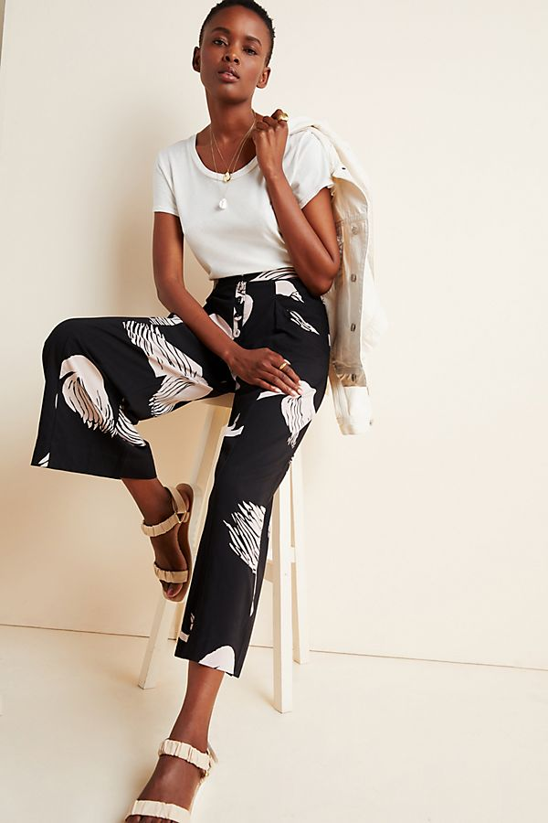 Slide View: 1: Odette Swan-Printed Trousers