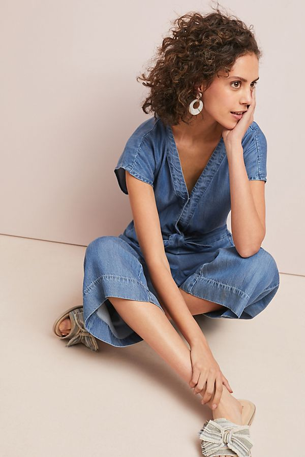 b15be035c5b Splendid Bow-Tied Chambray Jumpsuit