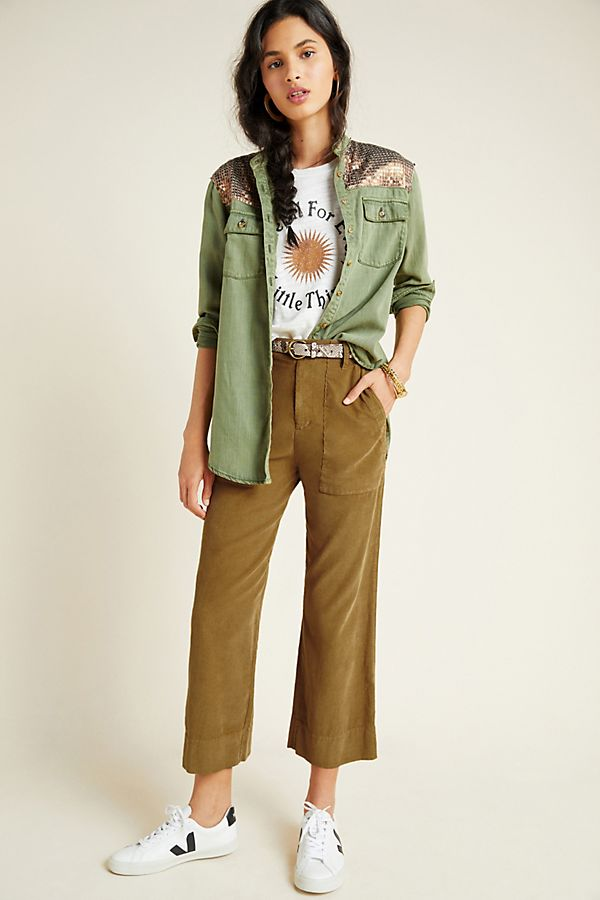 Slide View: 1: Vera Cropped Wide-Leg Corduroy Pants