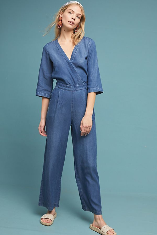 Slide View: 1: Surplice Chambray Jumpsuit