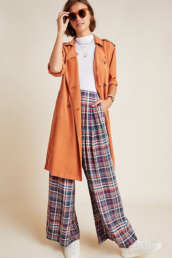 Slide View: 1: Averie Plaid Wide-Leg Pants