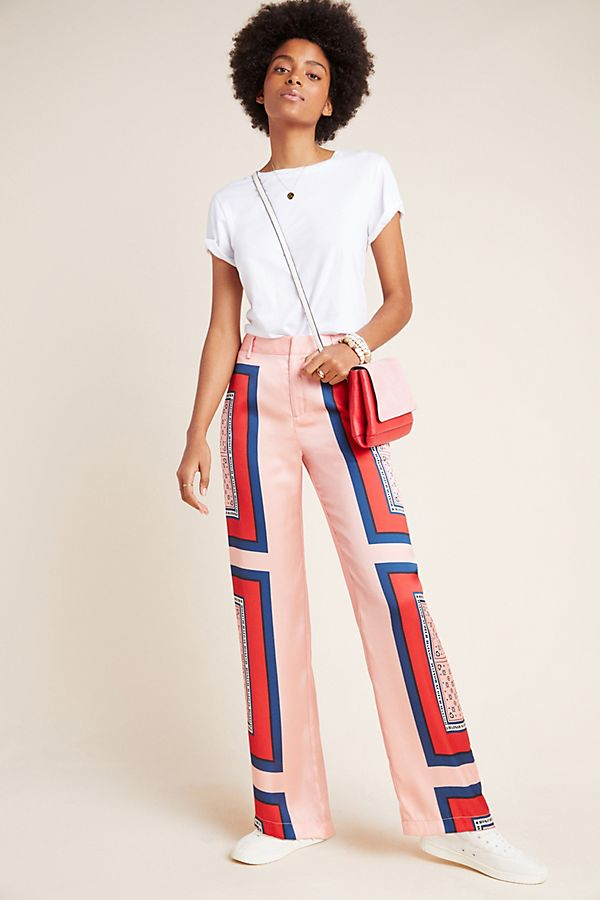 Slide View: 1: Scotch & Soda Abstract Wide-Leg Trousers