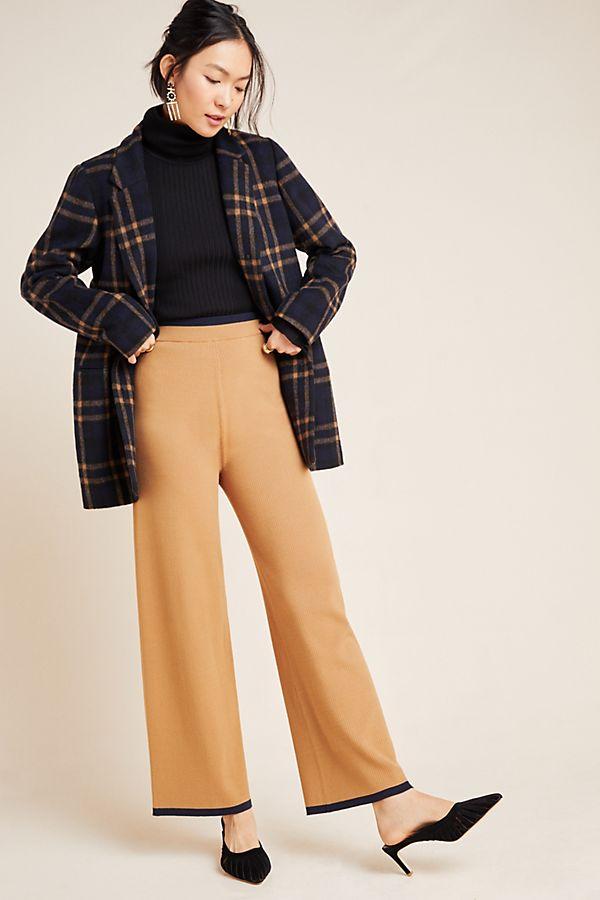 Slide View: 1: Scotch & Soda Ribbed Knit Wide-Leg Trousers