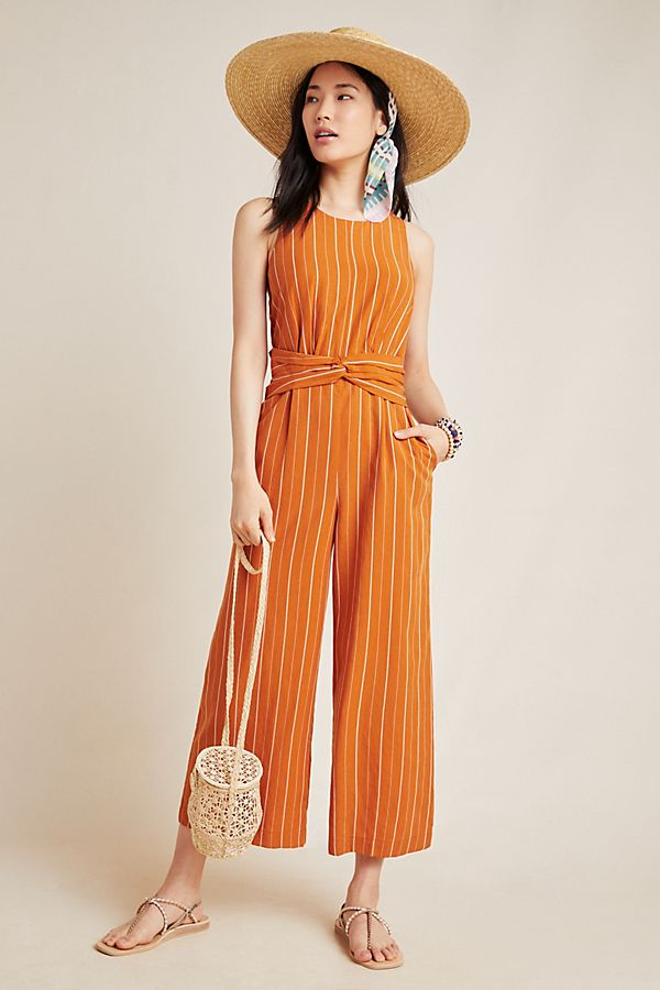 Slide View: 1: Striped Sleeveless Jumpsuit