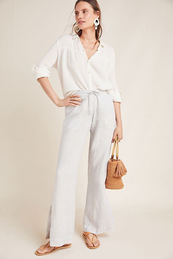 Slide View: 1: Cloth & Stone Linen Wide-Leg Trousers