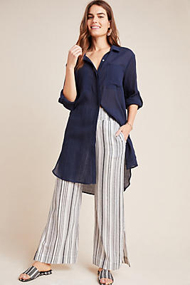 Slide View: 1: Cloth & Stone Stiped Wide-Leg Trousers