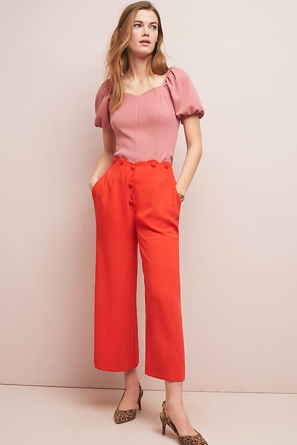 Slide View: 1: Scalloped Wide-Leg Pants