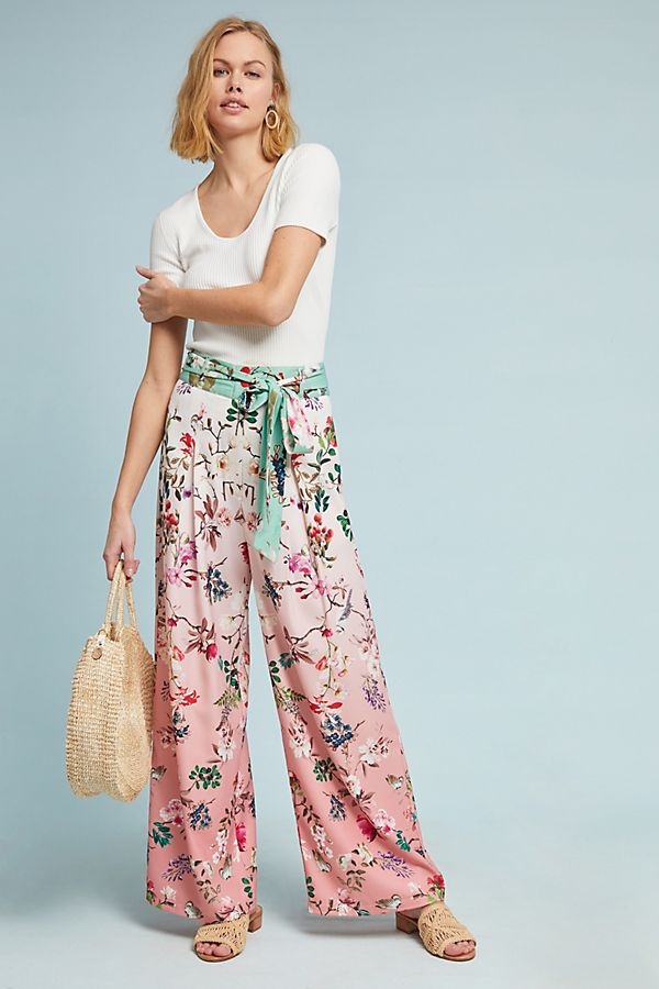 64c646fd0f Ombre Floral Wide-Leg Pants | Anthropologie
