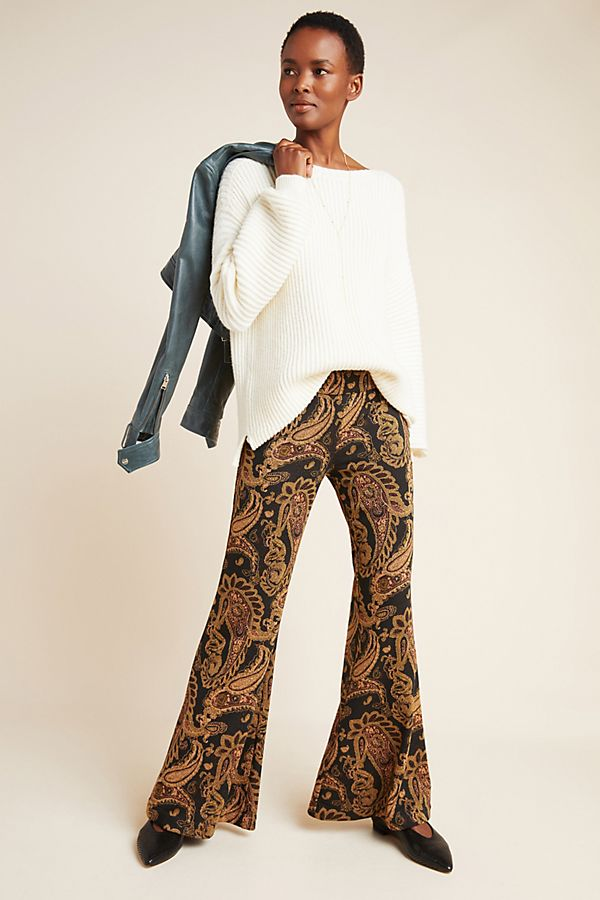 Slide View: 1: Viviana Jacquard Flared Trousers