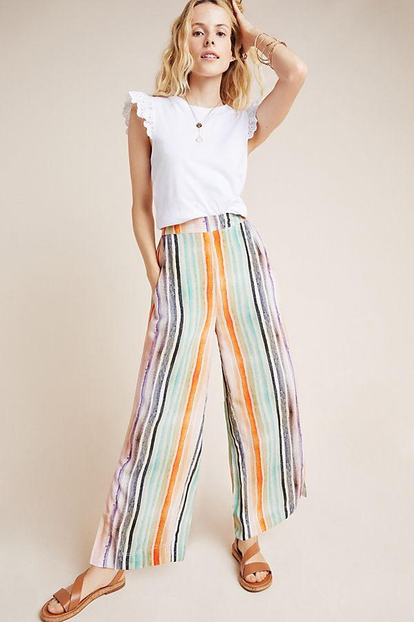Slide View: 1: Mina Striped Wide-Leg Pants