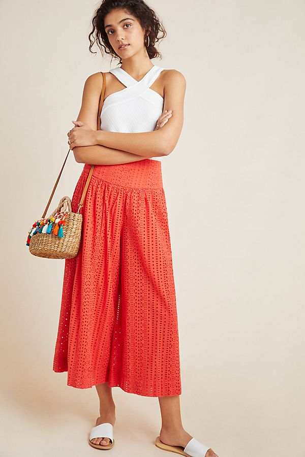 Slide View: 1: Eyelet Wide-Leg Pants