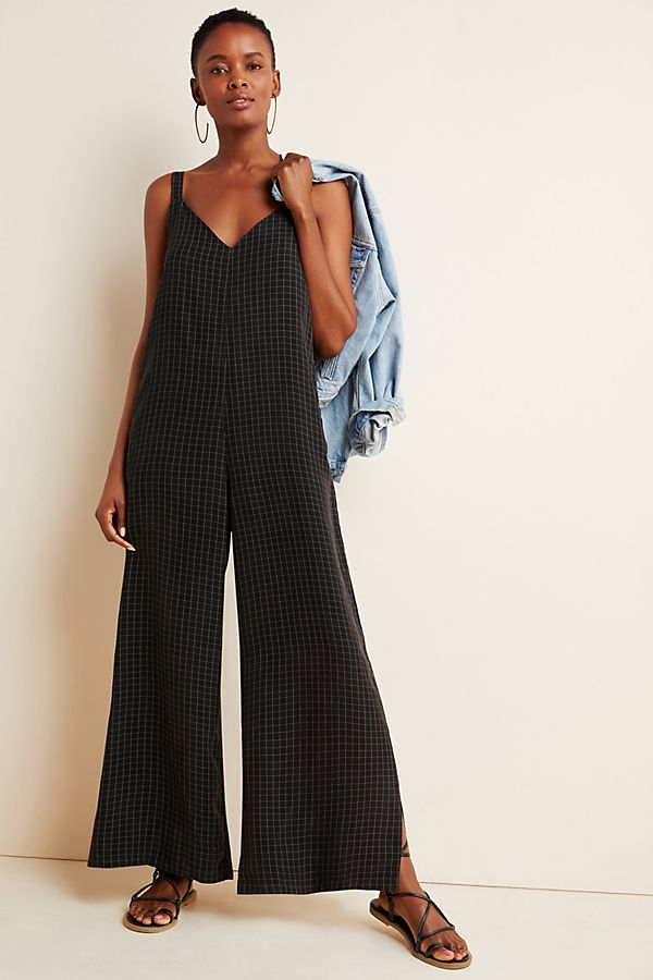 Slide View: 1: Checked Layering Jumpsuit