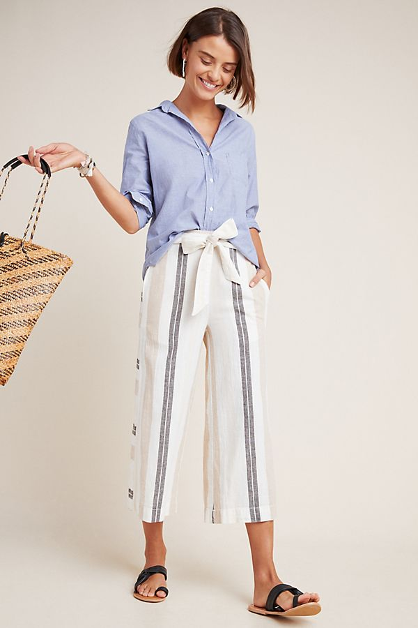 Slide View: 1: Shorebound Cropped Wide-Leg Pants