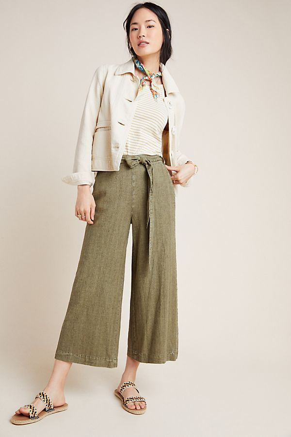 Slide View: 1: Overdyed Cropped Wide-Leg Pants