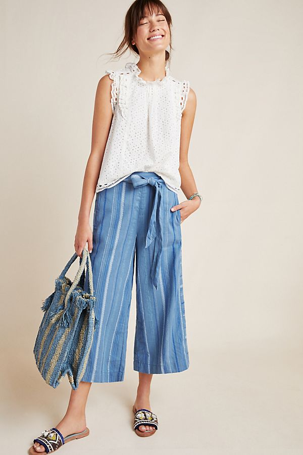 Slide View: 1: Laguna Cropped Wide-Leg Pants