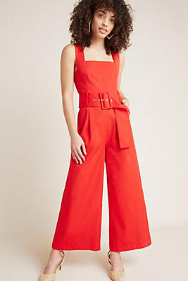 Slide View: 1: Pinafore Belted Jumpsuit