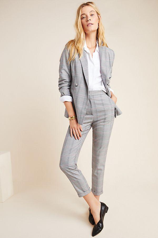 Slide View: 1: Suffolk Slim Plaid Trousers