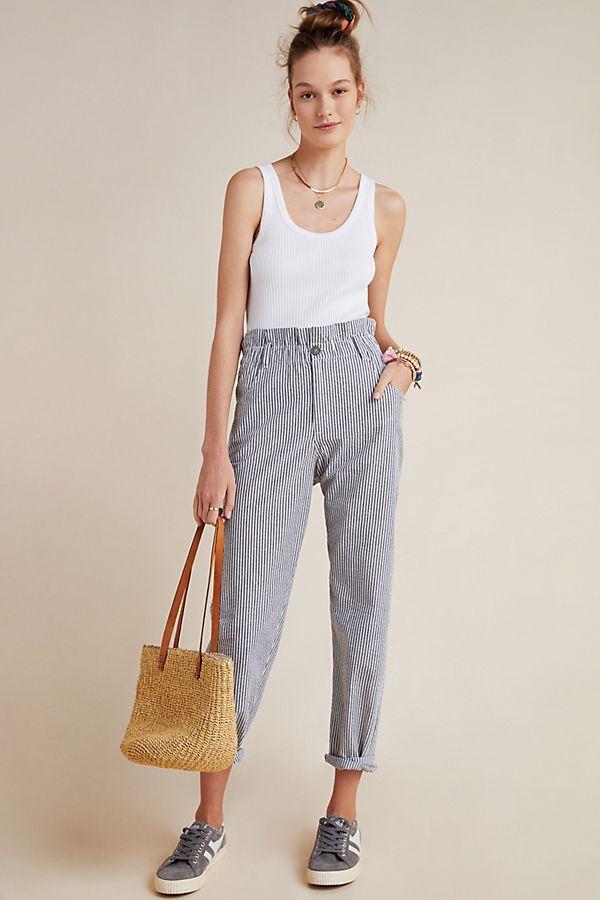Slide View: 1: Seersucker Paperbag Pants