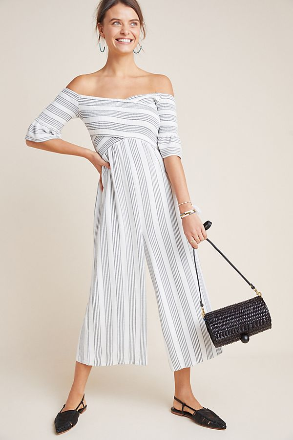 f5632bb10494 Slide View  1  Striped Off-The-Shoulder Jumpsuit