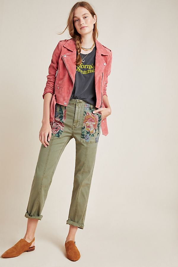 Slide View: 1: Relaxed Embroidered Trousers