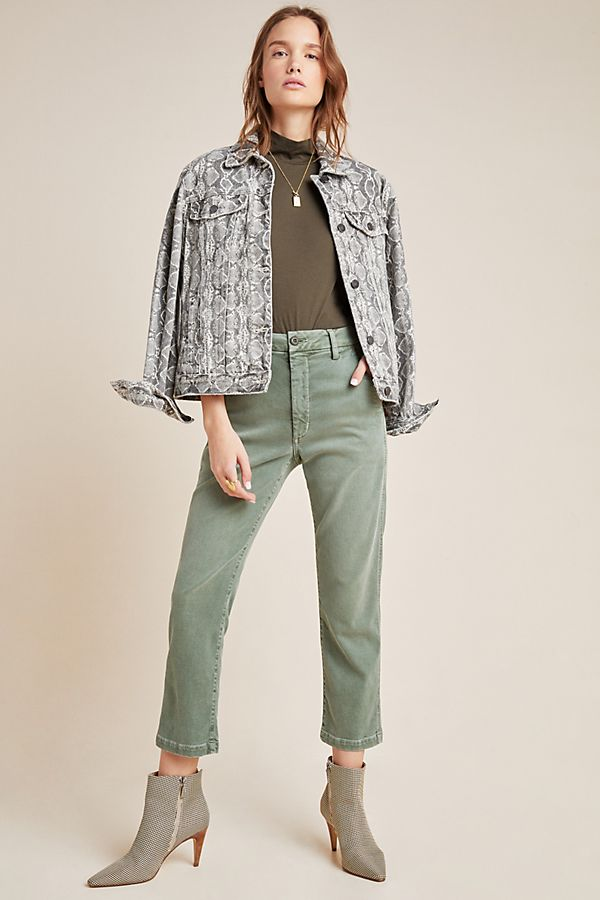 Slide View: 1: AMO Ultra High-Rise Straight Cropped Trousers