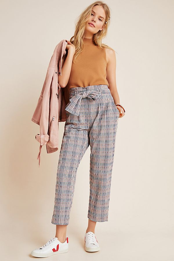 Slide View: 1: Hazelle Plaid Slim Pants