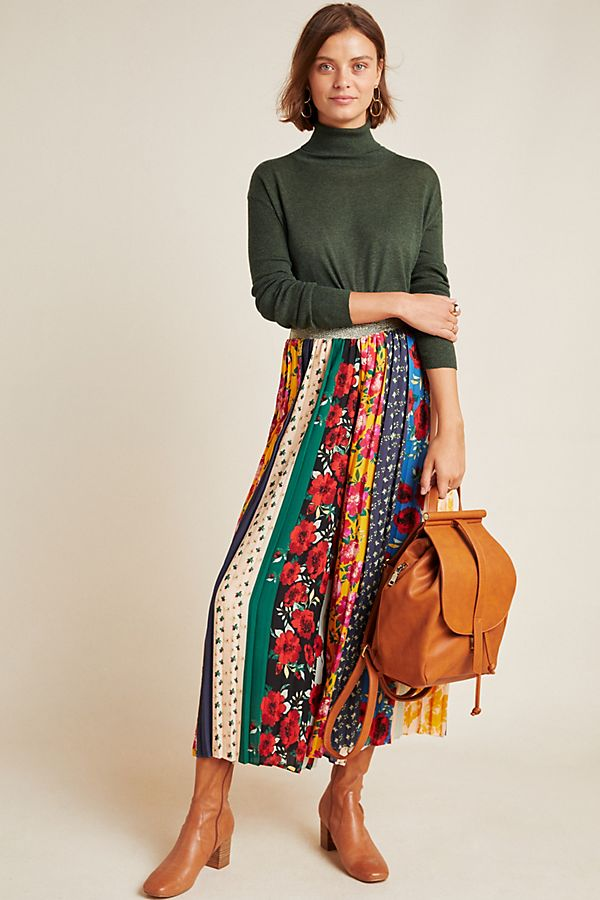 Slide View: 1: Spirited Patchwork Wide-Leg Pants