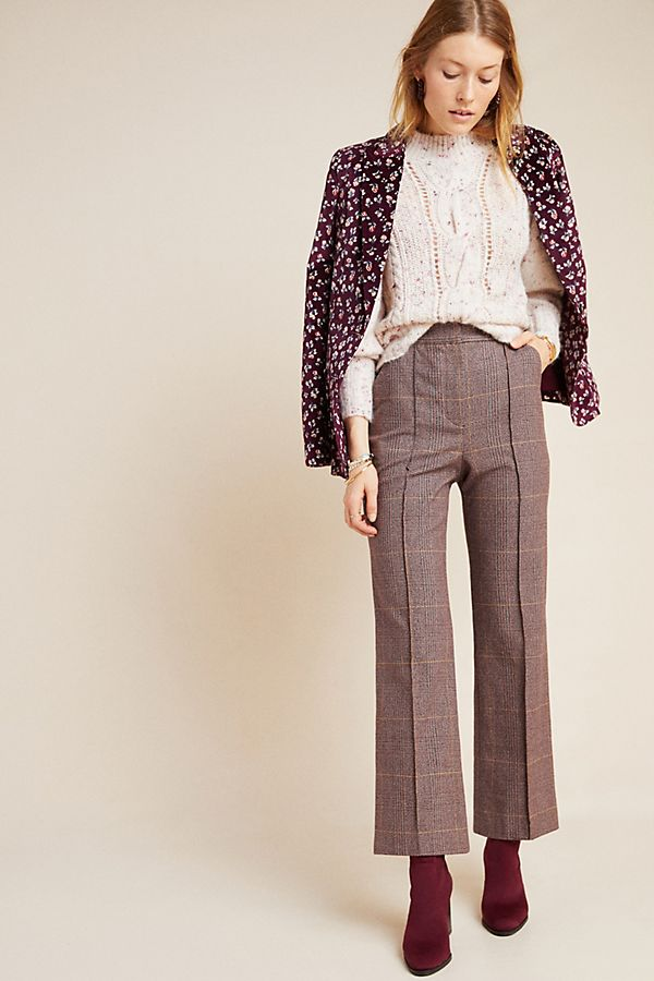Slide View: 1: Rebecca Taylor Plaid Pintucked Trousers