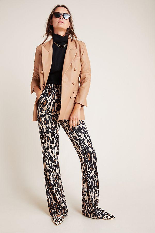Slide View: 1: Diane von Furstenberg Leopard Silk Trousers
