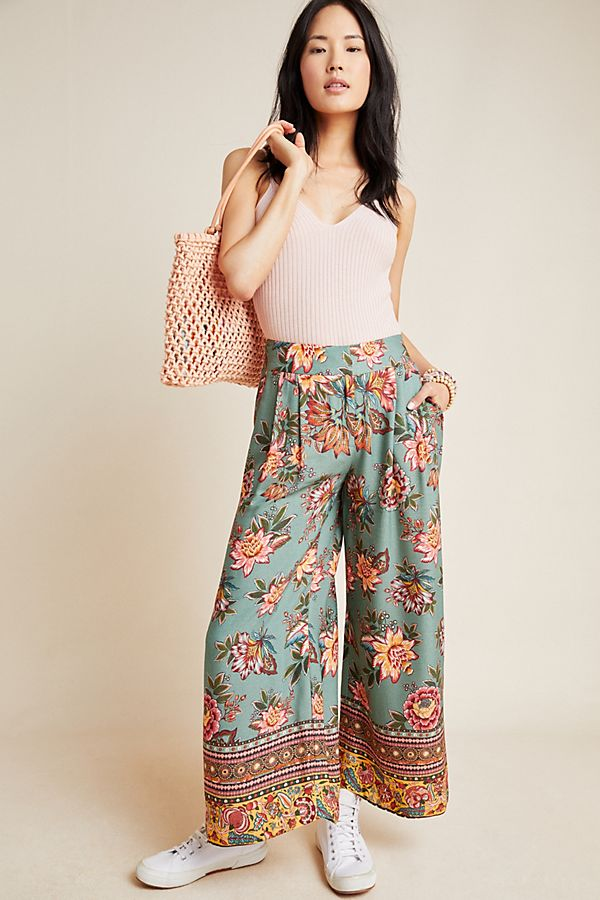 Slide View: 1: Farm Rio for Anthropologie Cropped Wide-Leg Pants
