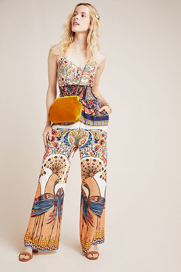 Slide View: 1: Farm Rio for Anthropologie Zadar Halter Jumpsuit