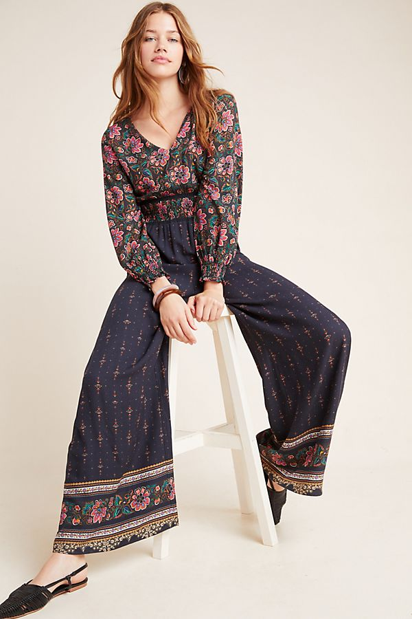 Slide View: 1: Farm Rio for Anthropologie Giuliana Wide-Leg Jumpsuit