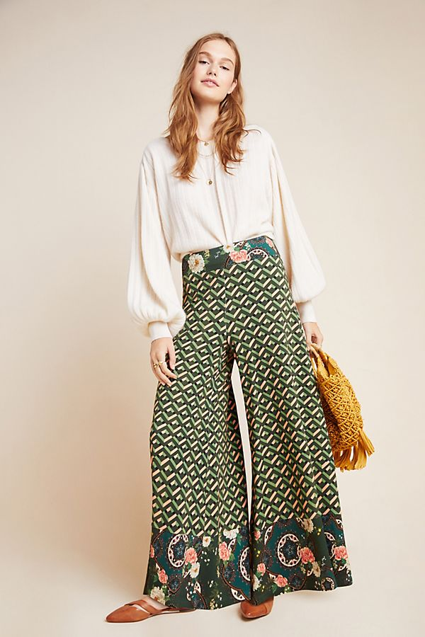 Slide View: 1: Farm Rio For Anthropologie Amie Knit Wide-Leg Pants