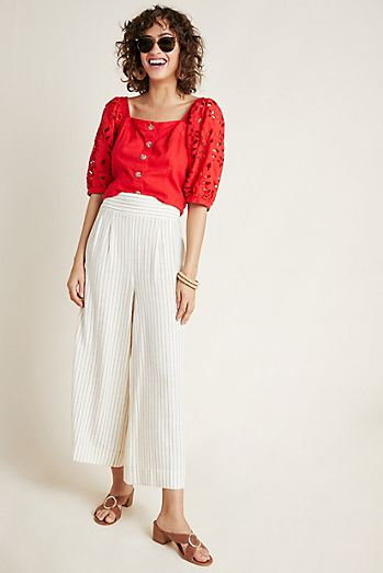 5ee8408993cf5 Buttoned Wide-Leg Pants