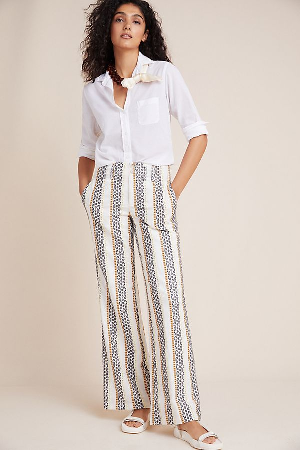 Slide View: 1: Eyelet-Striped Trousers