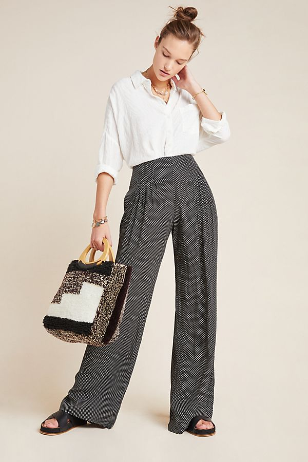 Slide View: 1: Cabo Pleated Wide-Leg Pants