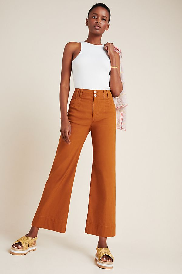Slide View: 1: Emma Cropped Wide-Leg Pants