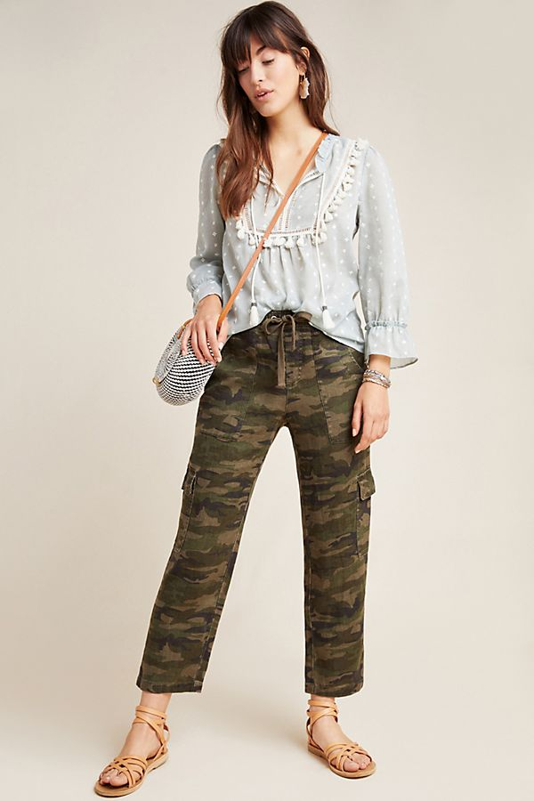 Slide View: 1: Camo Linen Cargo Pants