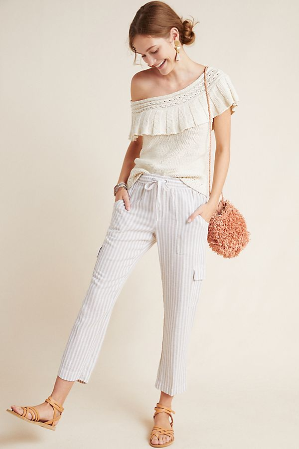 Slide View: 1: Striped Linen Cargo Pants