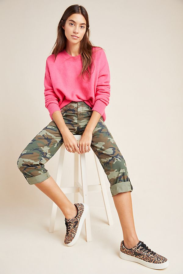 Slide View: 1: Sanctuary Explorer Camo Cropped Cargo Pants
