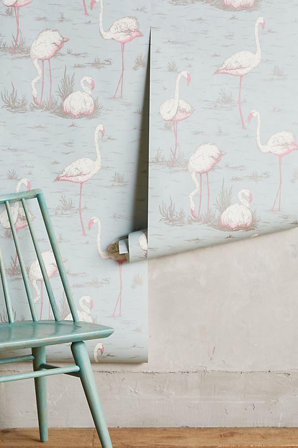 Wading Flamingos Wallpaper Anthropologie Uk