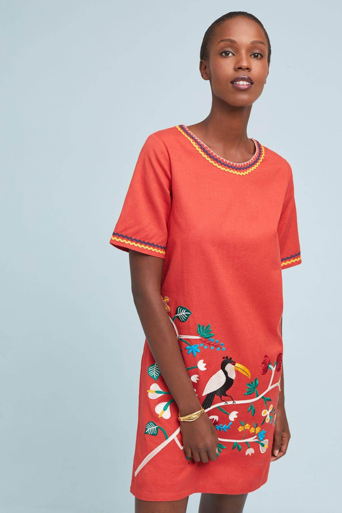 b46ede1e9fad Corey Lynn Calter Toucan Embroidered Dress